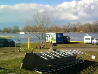 04-05; Elbe; Frohse; Stellplatz bei Fasthochwasser
