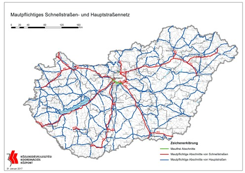 Mautpflichtige Bundesstraßen, Schnellstraßen und Autobahnen in Ungarn