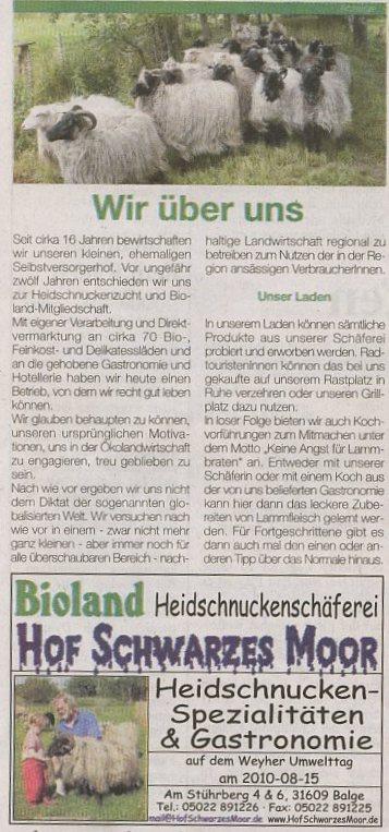 Belegexemplar Wochentip-Aller-Weser-Verlag; passend