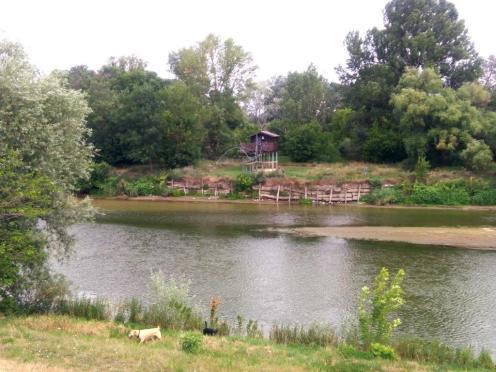Fischerhütten am Ufer der Morava